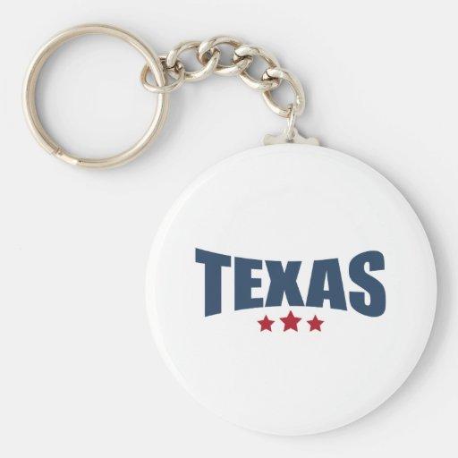 Texas Three Stars Design Keychain