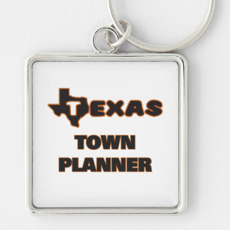 Texas Town Planner Silver-Colored Square Key Ring