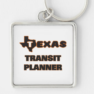 Texas Transit Planner Silver-Colored Square Key Ring