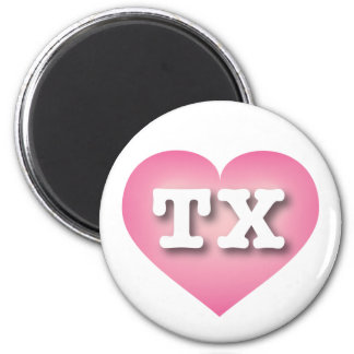Texas TX pink fade heart 6 Cm Round Magnet