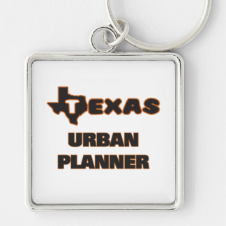 Texas Urban Planner Silver-Colored Square Key Ring