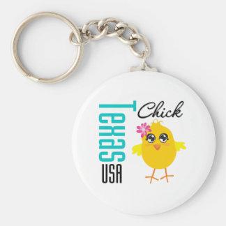 Texas USA Chick Basic Round Button Key Ring