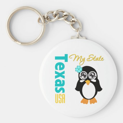 Texas USA Penguin Keychain