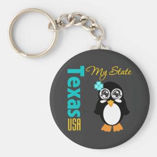 Texas USA Penguin Basic Round Button Key Ring