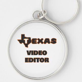 Texas Video Editor Silver-Colored Round Key Ring