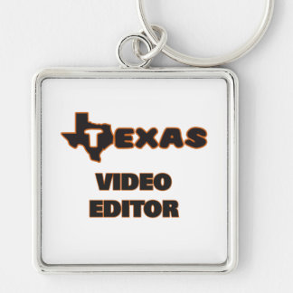 Texas Video Editor Silver-Colored Square Key Ring