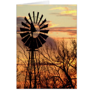 Texas windmill sunset card