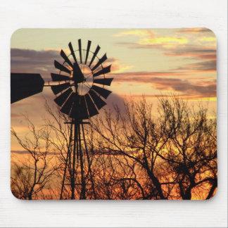 Texas windmill sunset mouse mat