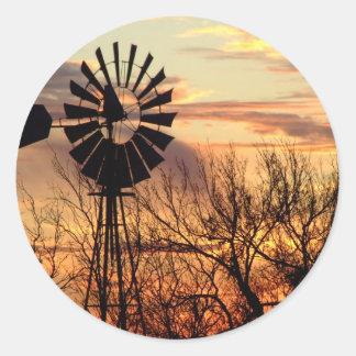 Texas windmill sunset sticker