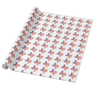 Texas with Chevron American Flag Wrapping Paper