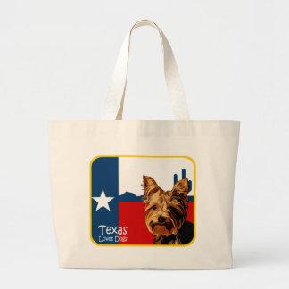 Texas Yorkie Large Tote Bag