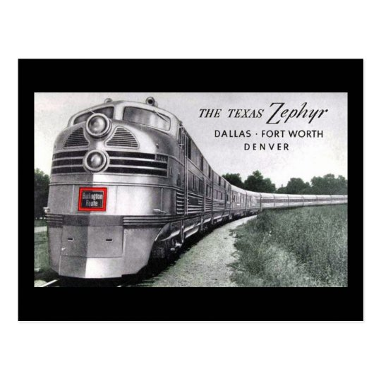Texas Zephyr Train Vintage Postcard