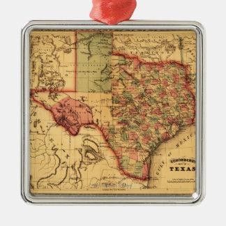 TexasPanoramic Map Christmas Ornament