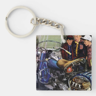 Tex's Motorcycle Double-Sided Square Acrylic Key Ring
