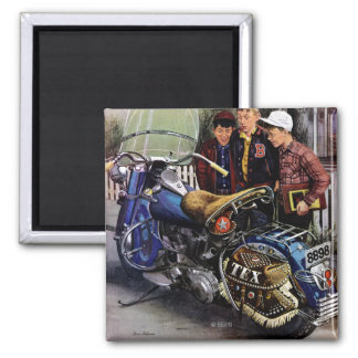 Tex's Motorcycle Square Magnet