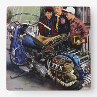 Tex's Motorcycle Square Wall Clock