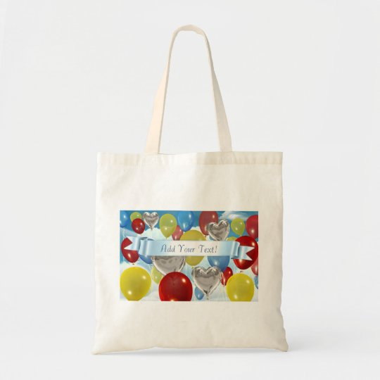 Text Added Sky Balloons Customisable Tote Bags
