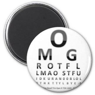 Text Addict's Eye Chart 6 Cm Round Magnet