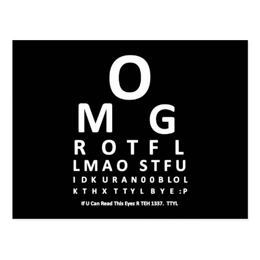 Text Addict's Eye Chart Post Card