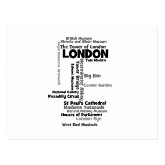 """Text Art """"London"""" Postcard"""