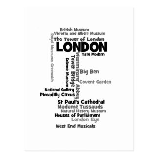 "Text Art ""London"" Postcard"