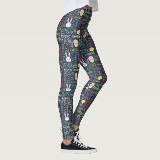 Text Happy Easter Bunny Egg Hunt Leggings