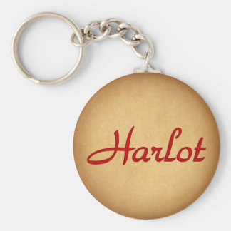 Text Harlot Basic Round Button Key Ring