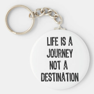 Text- Life Is A Journey Not A Destination-Black Basic Round Button Key Ring