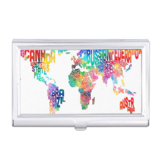 Text Map of the World Business Card Holder