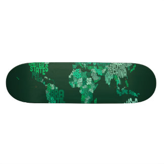 Text Map of the World Map 18.1 Cm Old School Skateboard Deck