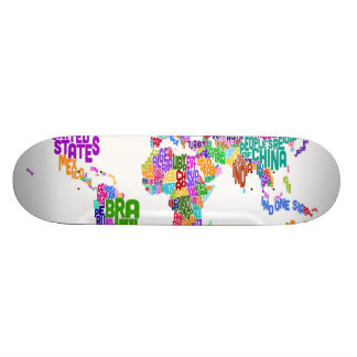 Text Map of the World Map Skateboard Deck