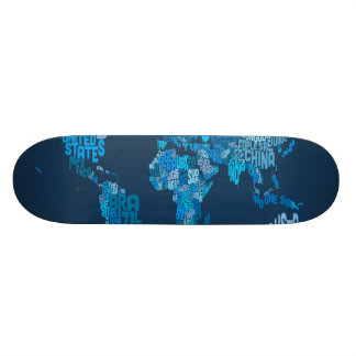 Text Map of the World Map Custom Skate Board