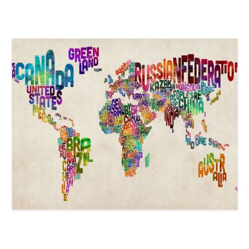 Text Map of the World Post Cards