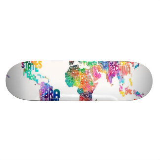 Text Map of the World Skate Board