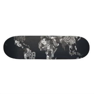 Text Map of the World Custom Skateboard