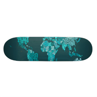Text Map of the World Custom Skate Board