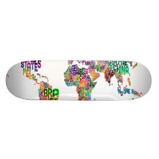 Text Map of the World Skateboard Decks