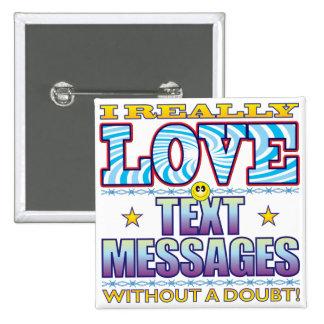 Text Messages Love Face 15 Cm Square Badge