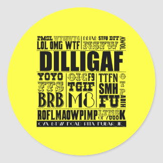 Text messaging slang classic round sticker