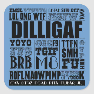 Text messaging slang square sticker
