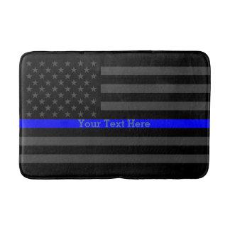 Text on Thin Blue Line Custom Grey US Flag Bath Mats