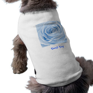 Text Temolate, Floral Photo Dainty Light Blue Rose Doggie T-shirt