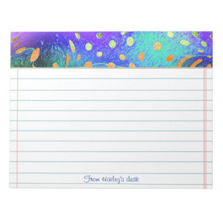 Text Template - Fractal - Orange, Purple, Teal Notepad