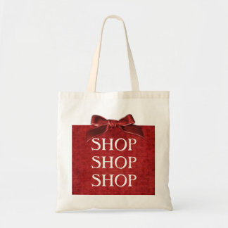 Text Template - Red Nubby Chenille Fabric Budget Tote Bag