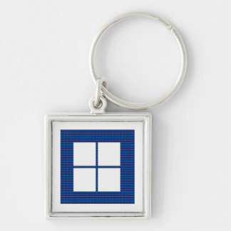 TEXT your SQUARES Template Silver-Colored Square Key Ring