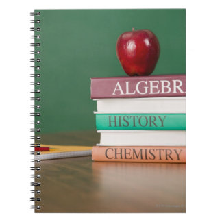 Textbooks and an apple notebook