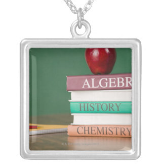 Textbooks and an apple silver plated necklace