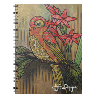 Textile Art Bird Notebook