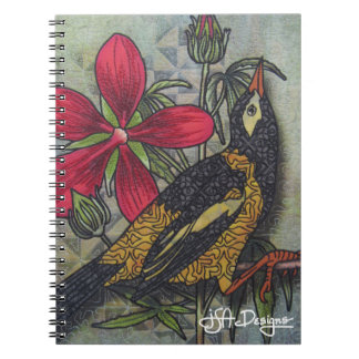 Textile Art Bird Notebook