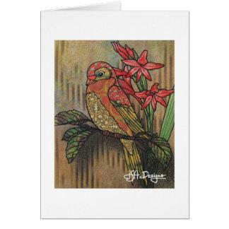 Textile Art Bird Notecard
